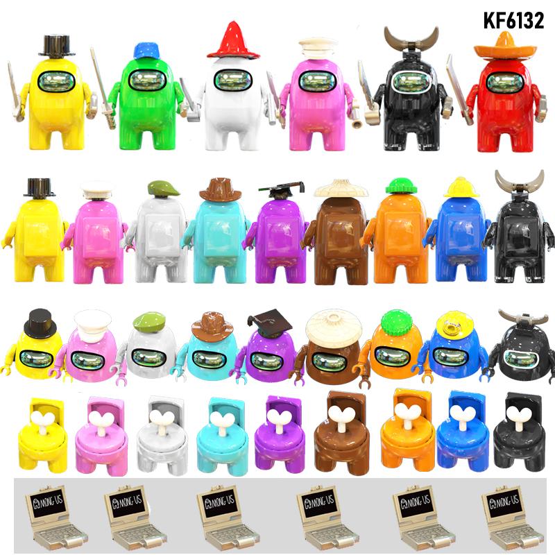 Set Sale Amonges Strategy Casual Game Building Blocks Kawaii Cute Bricks Figures Toys For Children KF6130 KF6132 KF6133