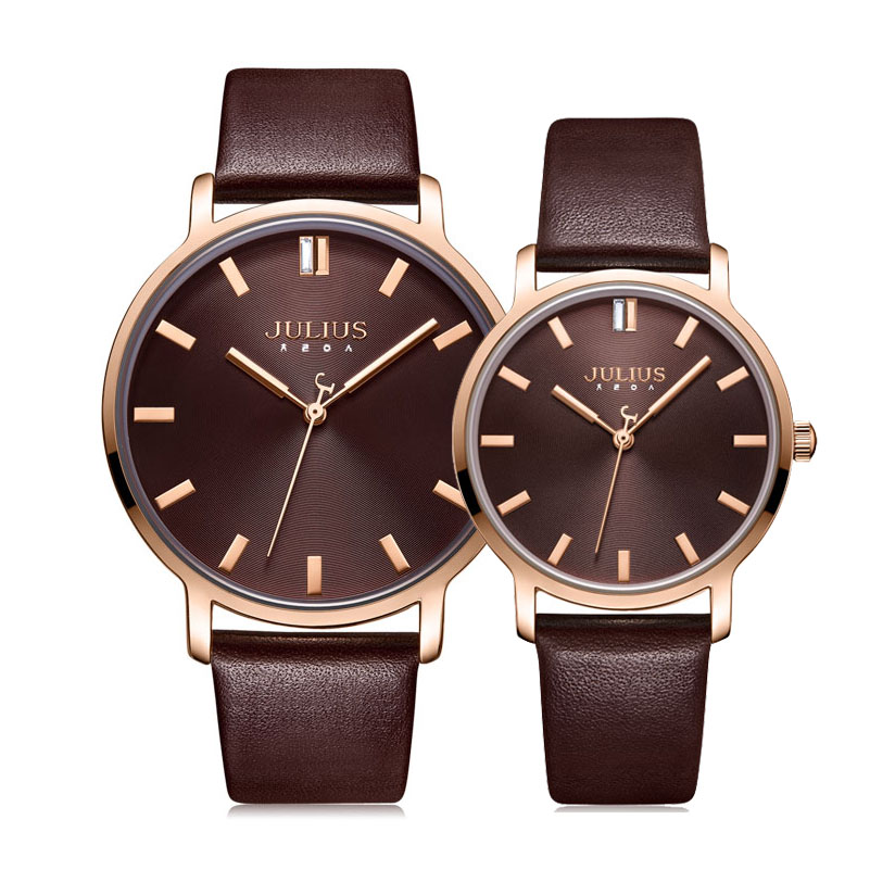 Classic Men's Watch Women's Watch Japan Quartz Couple Hours Fashion Real Leather Bracelet Lover's Birthday Gift Julius Box