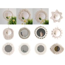 null Nordic Wall Mounted Round Cotton Rope Braided Tassel Mirror Makeup Home Hanging Decoration Bathroom Dressing Decor Mirrors cheap CN(Origin) 5AC404012-B