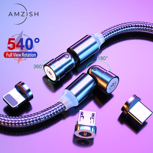 amzish 540 Degree Rotate Magnetic cable micro usb cable Type C USB C Cable For iPhone Samsung Fast Charging Magnet Phone Charger