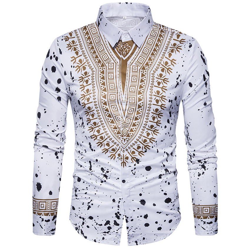 2019 African Dresses For Man Shirt Long Sleeve Autumn Winter Print Bazin Traditional Africa Clothes Fashions Maxi Men's Shirt