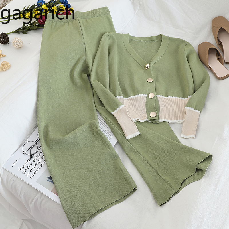 Gagarich Knitted Women Two Pieces Set Spring Short V-neck Button Tops Fashion Casual Wide Leg Long Pants Femme Elegant Sets