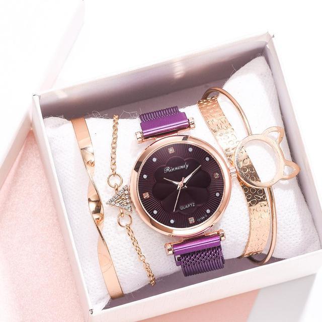 Conjunto de 5 uds. De relojes de lujo con hebilla magnética para Mujer, pulsera de cuarzo con diamantes de imitación y flores 3