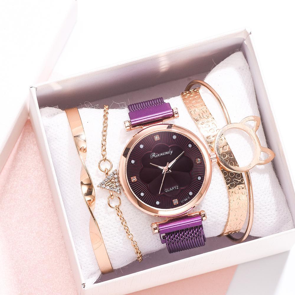 Модные женские часы, 5 шт. в наборе, роскошные, с магнитной пряжкой, цветок, стразы, Женские кварцевые наручные часы, браслет, набор, Reloj Mujer
