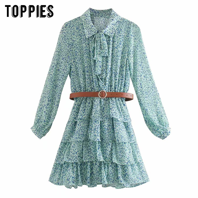 2020 Summer Leopard Printing T-shirt Dress Cascading Ruffles Pleated Hem Mini Dress Lantern Sleeve