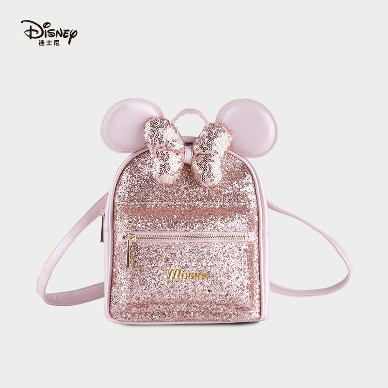 Disney 2021 New Sweet Minnie Girly Style Backpack Literary Forest Large Capacity Girl Bag