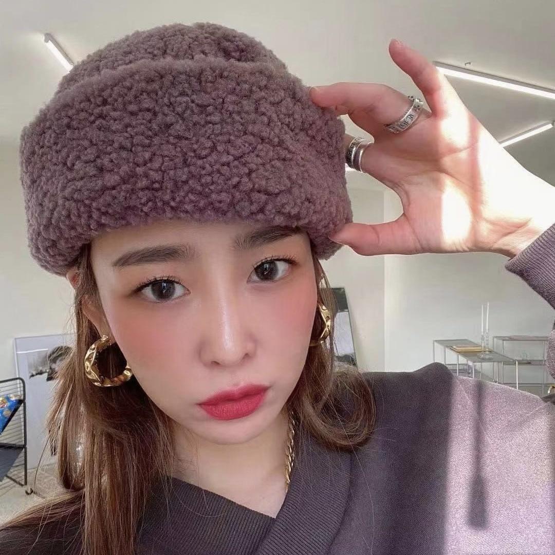 Korean ins Warm Lamb wool Hat Women's Winter Autumn Fashion Solid Color Beanies for Women Men Skull Cap Outdoor Couple Hats 6192