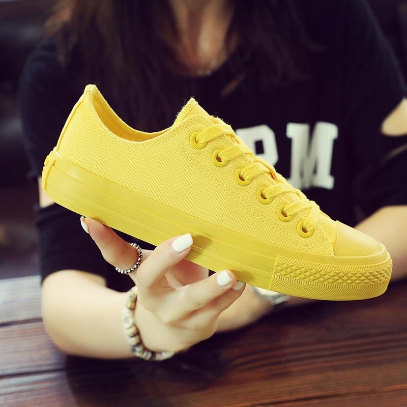 Girls White Sneakers Lemon Yellow