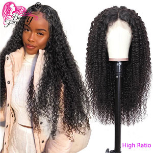 Image 1 - BeautyForever Malaysian Curly Hair Wig Lace Front Wigs 4x1 T Part Lace Human Hair Remy Wig Pre Plucked With Baby Hair
