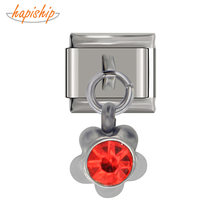 Hapiship 2019 Original Design Stainless Steel Flower Red CZ Italian Charm Fit 9mm Bracelet Stainless Steel Jewelry Making DJ24(China)