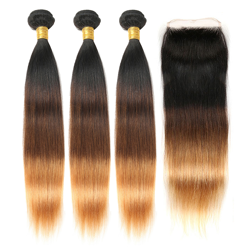 Ombre Straight Hair Weave Brazilian Human Hair Bundles With Closure 1B 4 27 Remy Bundles Hair Extensions Zing Silky Hair Vendors