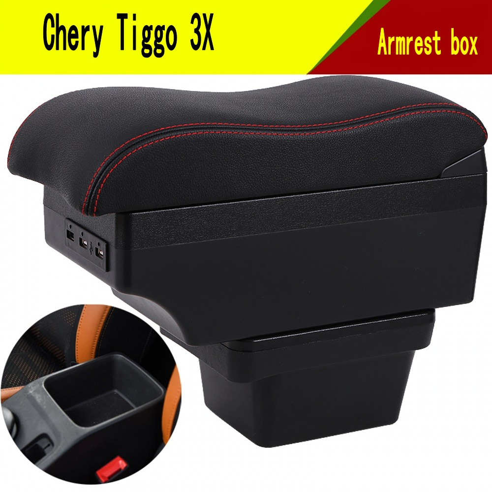 For Chery Tiggo 3X armrest box USB Charging Double layer central Store content cup holder ashtray accessories(China)