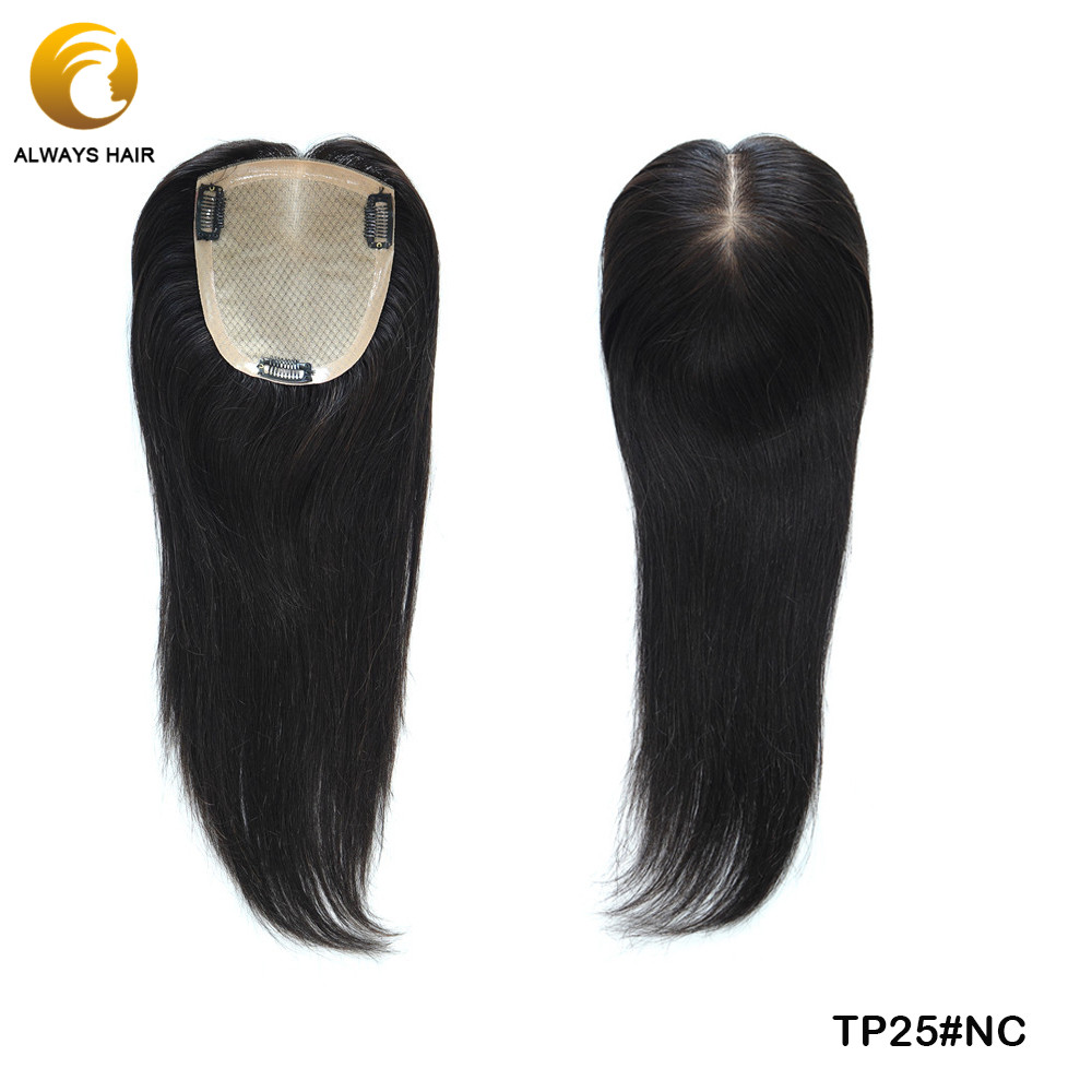 TP25 Nature Hairline Silk Top With 3 Cilps Chinese Culticle Remy Human Hair Toupee For Women Free Style Straight 120% Density