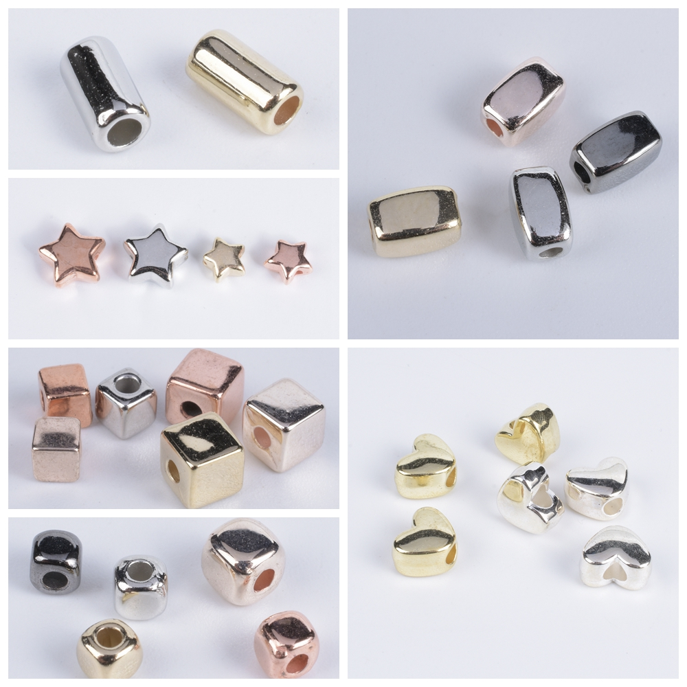 50-200Pcs CCB Star Square Tube Heart Shape Loose Beads For Jewelry Making Supplies Spacer Bead DIY Bracelet Necklace Accessories