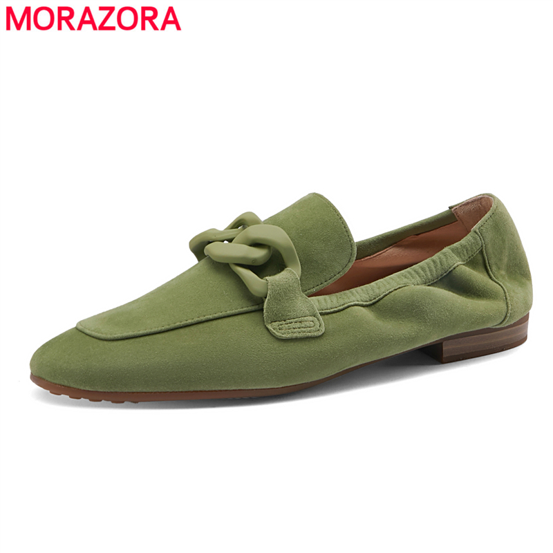 MORAZORA 2021 New Suede Leather Loafers Women Flats Slip On Solid Color Spring Summer Casual Ladies Flat Shoes
