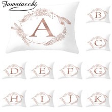 Fuwatacchi White A-Z Letter Cushion Covers Polyester Flower Pillowcase for Home Sofa Car Decorative Throw Pillow Covers 30*50cm