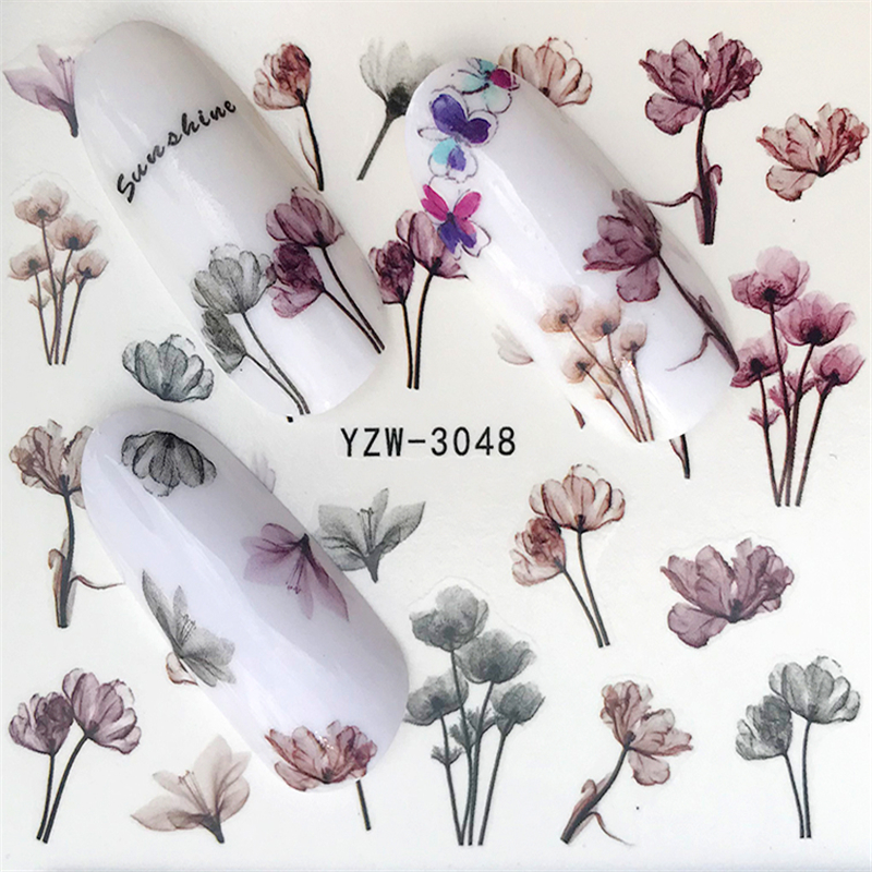 FWC 1 Sheet Vivid Flamingo Unicorn Flower Water Decal Red Purple Pink Black Manicure Nail Art Transfer Sticker