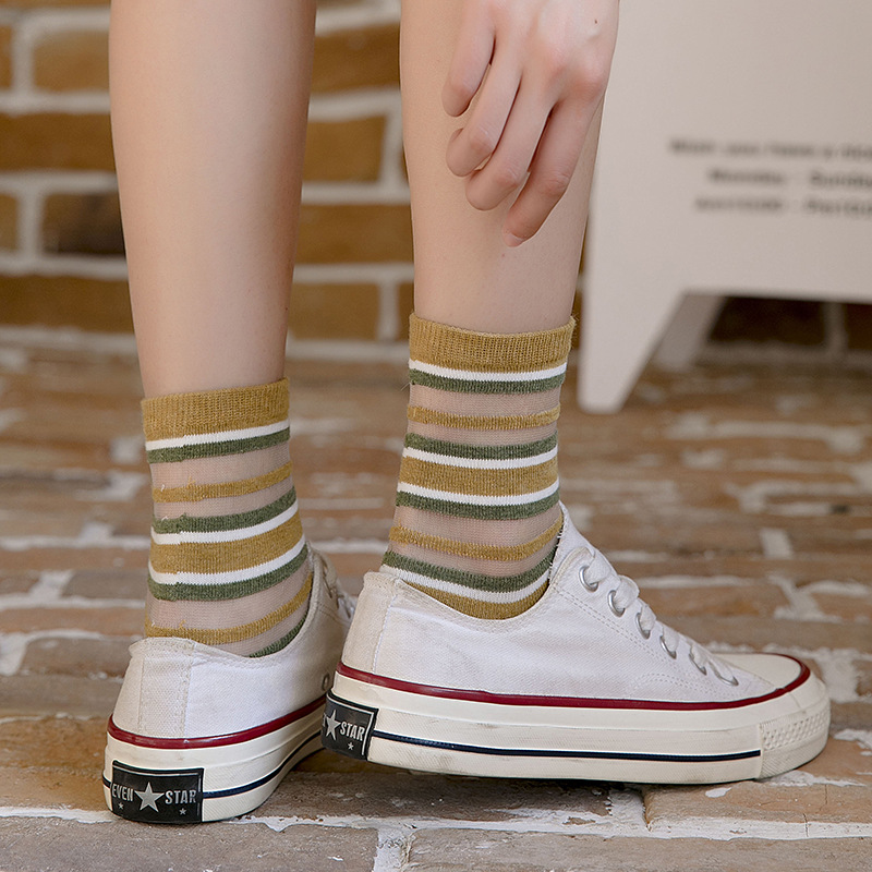 New Women's Ultra-thin Striped Card Material High-quality Breathable Wear-resistant Casual Socks 6 Pair