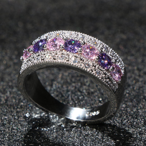 Cellacity Luxury Silver 925 Jewelry Gemstones Ring for Women Amethyst Powder Crystal Zircon Trendy Female Gift Party Wholesale(China)
