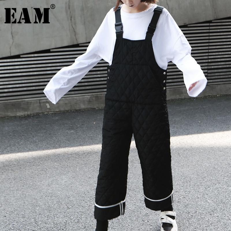 [EAM] Loose Fit Women Striped Cotton-padded Jumpsuit New High Waist Pocket Stitch  Pants Fashion Spring Autumn 2020 19A-a328
