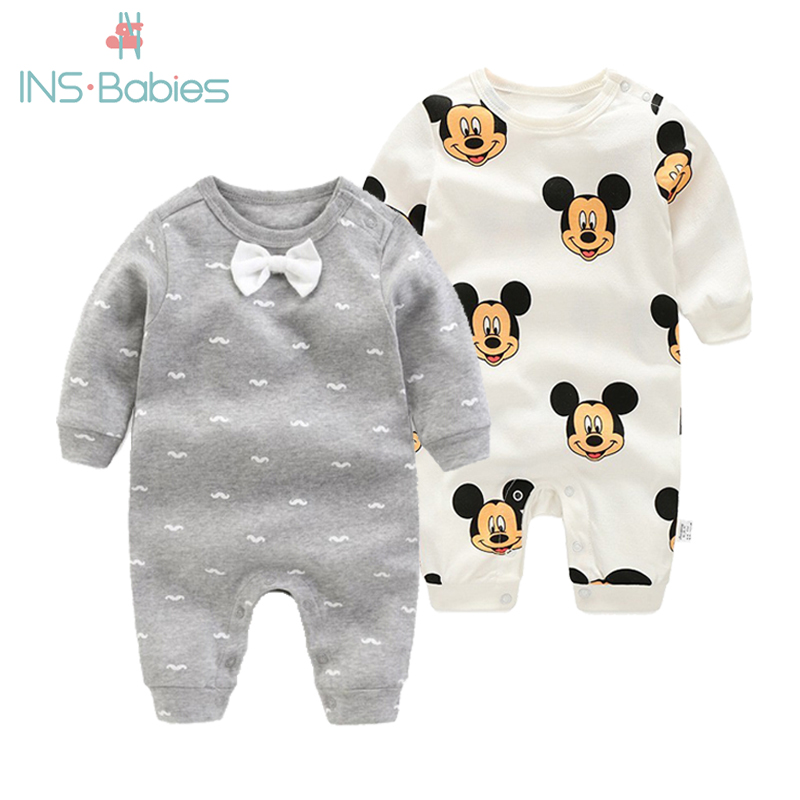 2020 Newborn Baby Boys Girls Rompers Long Sleeved Fashion Jumpsuit Spring And Autumn Boys Gentleman Clothes Cotton Pink Pajamas
