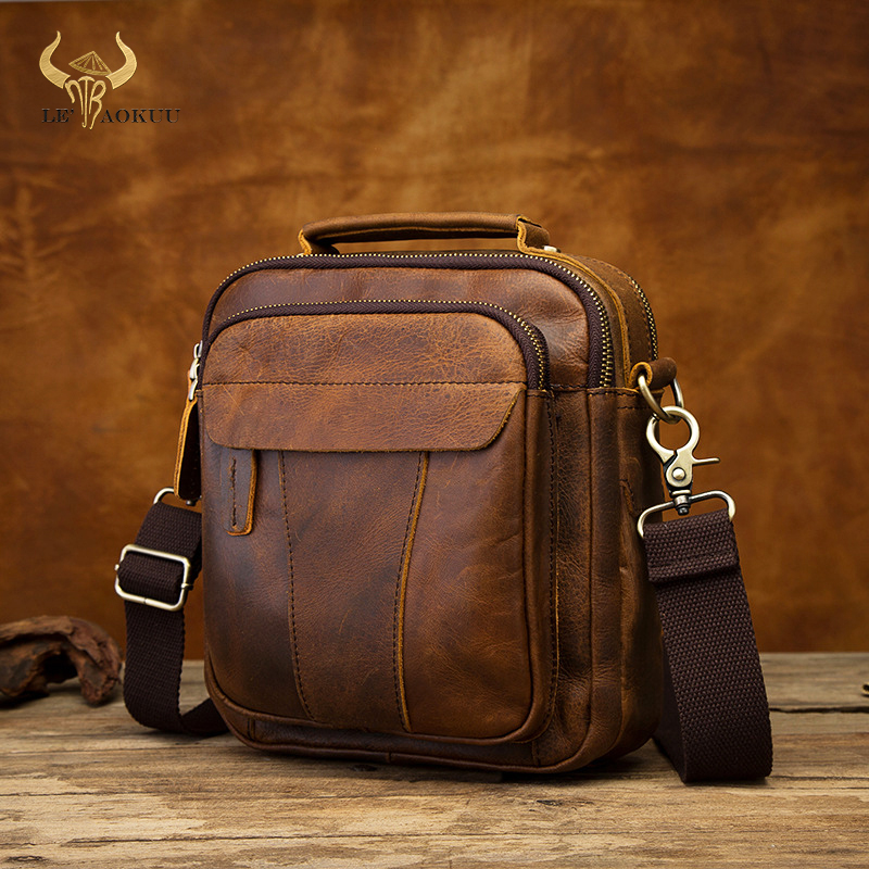 "Quality Leather Male Casual Design Shoulder Messenger bag Fashion Cross body Bag 8"" Tablet Tote Mochila Satchel bag 149 db