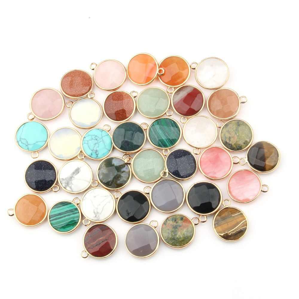 טבעי אבן עגול צורת תליון עלה Quartzz/טייגר עיניים תליון DIY עבור שרשרת אביזרי או תכשיטי ביצוע