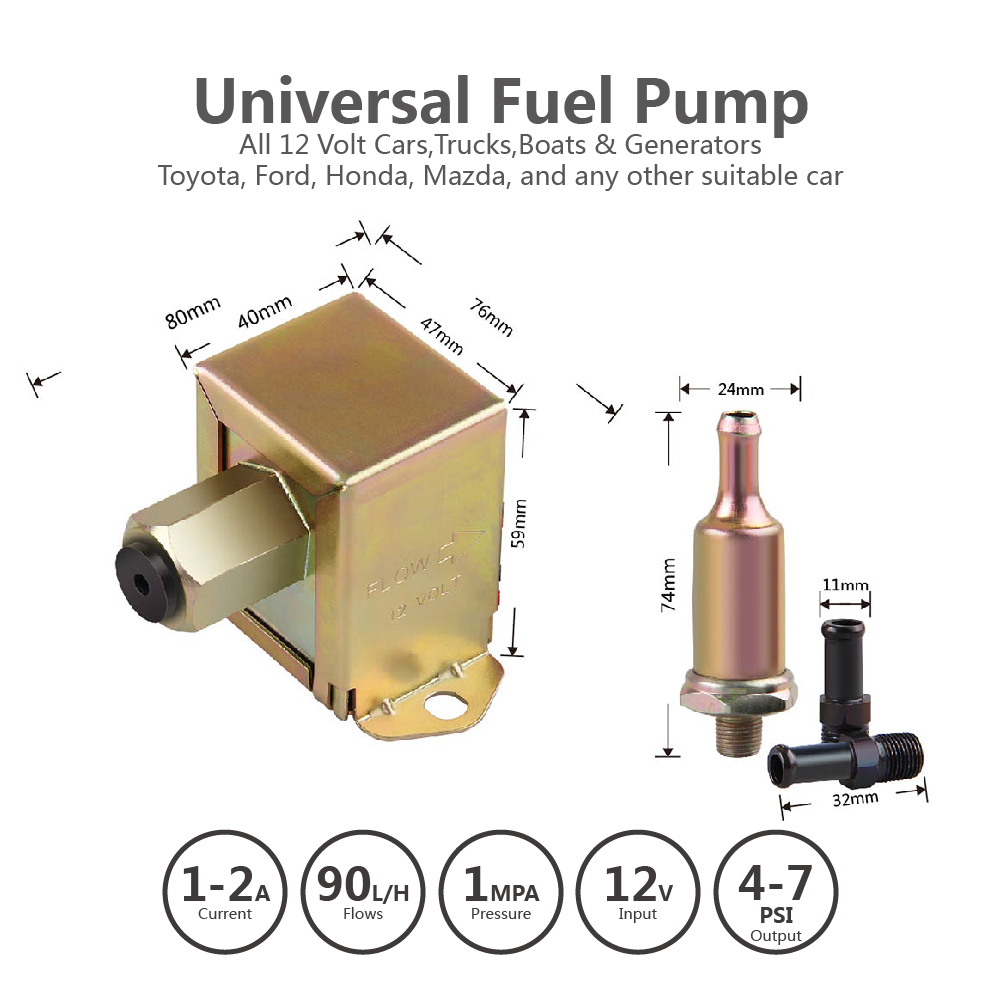 12V Heavy Duty Low Pressure Universal Electric Fuel Pump Diesel 4-6 PSI New