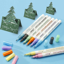 8Color Dream Fluorescent Pen Mark Painting Color Double Line Outline Pen DIY Hand Account Pen Poster Greeting Card Art School