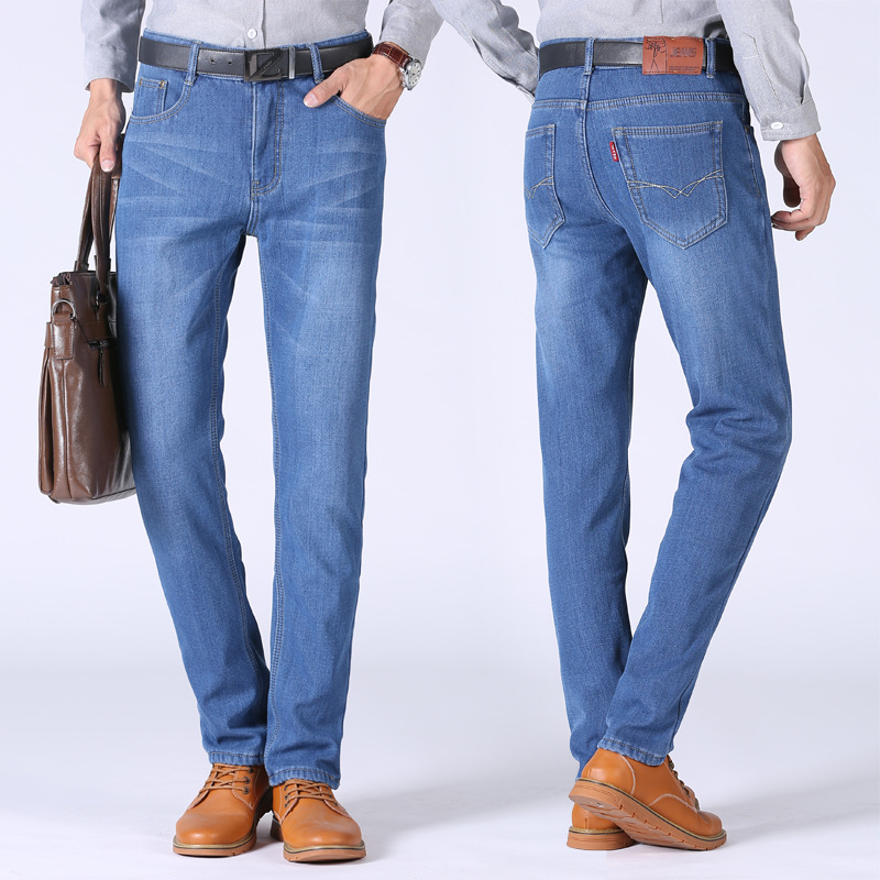858 #2018 Autumn And Winter Jeans Men's Brushed And Thick Men Business Casual Large Size Loose Straight Long Pants