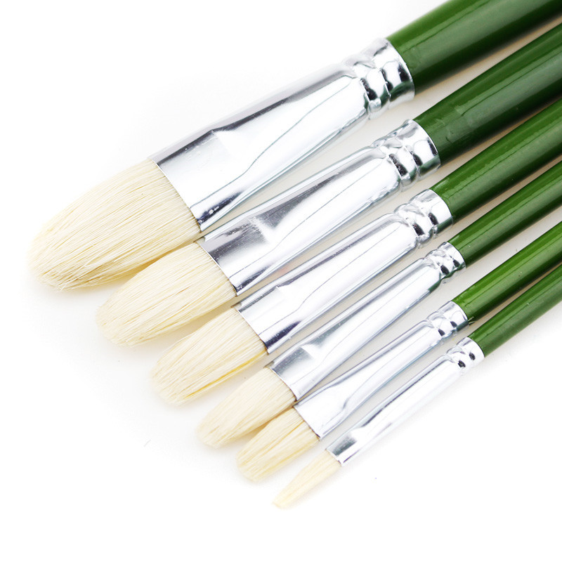 6pcs/set Senior Oil Painting Pen Brush Bristle Suit Gouache 6 Pack Paint Brushes