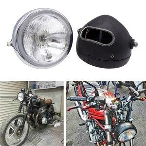 Image 3 - 6 אינץ 35W 12V האוניברסלי רטרו מתכת ערפל מנורת אופנוע פנס צד הר עגול מנוע פנס עבור מחזיק להאלי/סוזוקי
