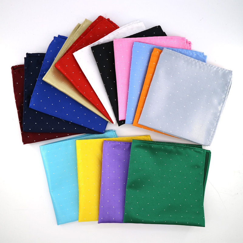Luxury Men's Polyester Silk Pocket Squares 25CM Silver Polka Dot Design Handkerchief Groom Wedding Party Chest Towel Hankies