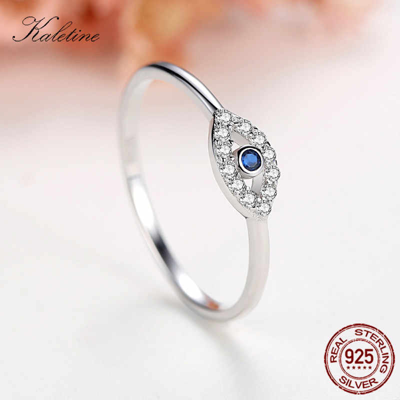 Kaletine 925 Sterling Silver Evil Eye แหวนโชคดีหินสีฟ้า CZ Luxury ยี่ห้อแหวนตุรกีเครื่องประดับงานแต่งงาน KLTR156