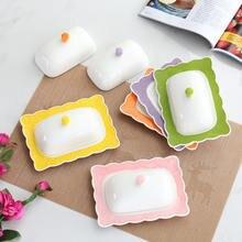 Тисненая белая керамическая тарелка для масла с крышкой beurrier
