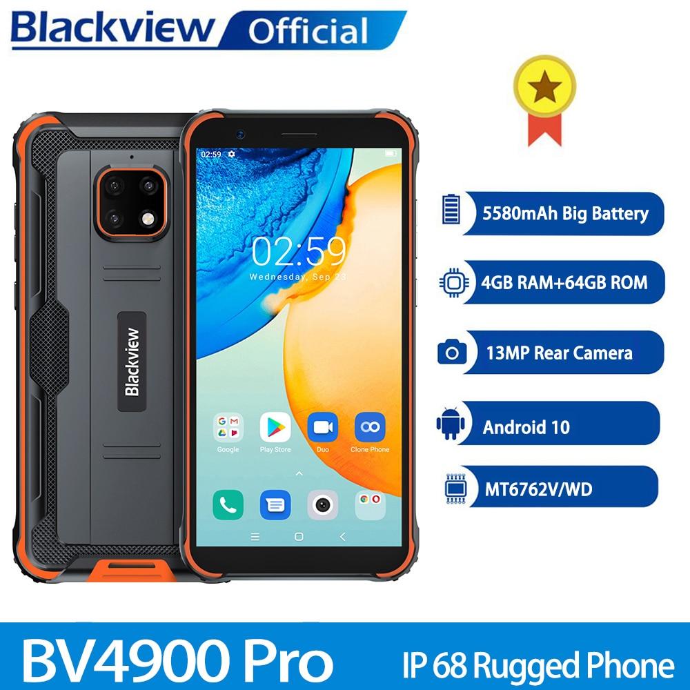 Blackview BV4900 Pro IP68 téléphone robuste 4GB 64GB Octa Core Android 10 téléphone portable étanche 5580mAh NFC 5.7 pouces 4G téléphone portable