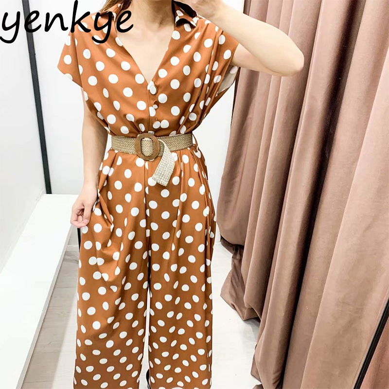 Vintage Polka Dot Jumpsuit Women V Neck Short Sleeve With Belt Overalls Summer 2020  Casual Long Jumpsuit Plus Size  Romper