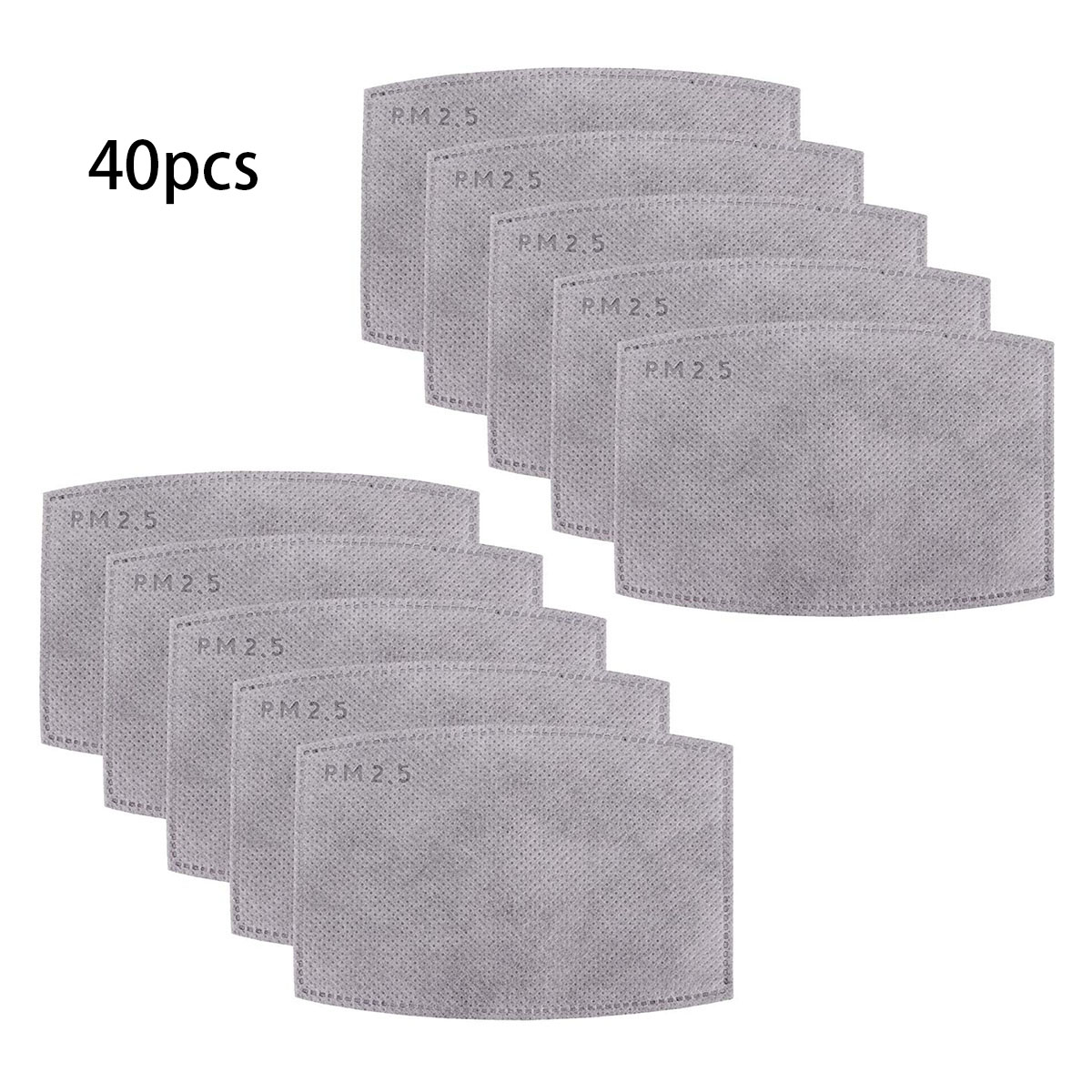 40/20/10pcs Fine Denier Face Mask Filter Inserts Cotton Mask Soft Wicking PM2.5 Filtration Filter Inserts Dust Mask