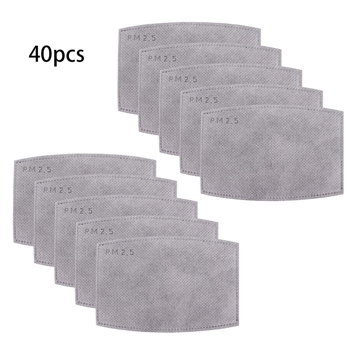 40/20/10pcs Fine Denier Face Mask Filter Inserts Cotton Mask Soft Wicking PM2.5 Filtration Filter Inserts Dust Mask