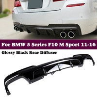 For BMW F10 M Sport Rear bumper lip diffuser Sedan 2012 2016 5 Series Black FRP dual exhaust two outlet Rear Bumper Lip