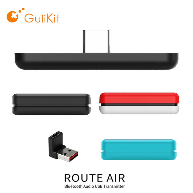 GuliKit NS07 Rute Udara Nirkabel Bluetooth Audio Adapter USB-C Transmitter untuk Nintendo Switch/Saklar Lite PS4 PC Game