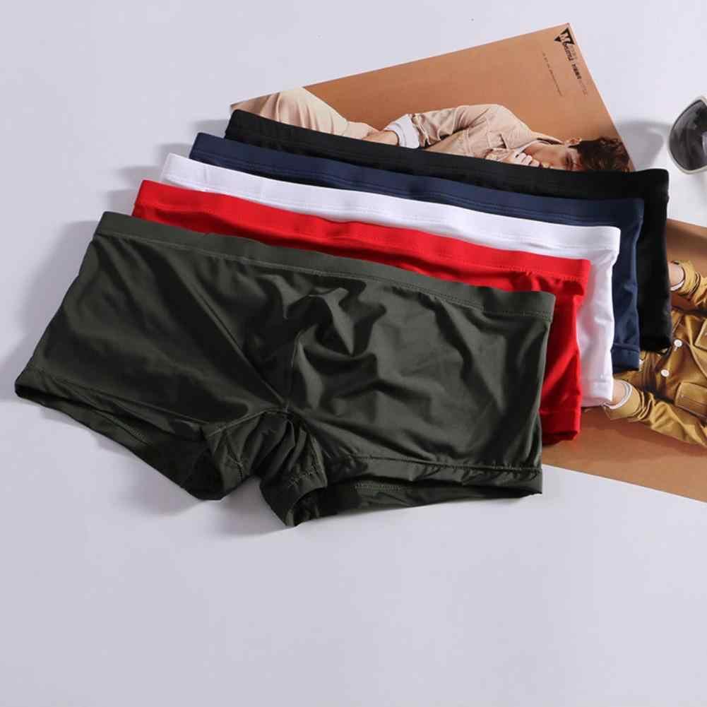 Men Ice Silk Underwear Boxer Briefs Shorts Bulge Pouch Underpants Breathable
