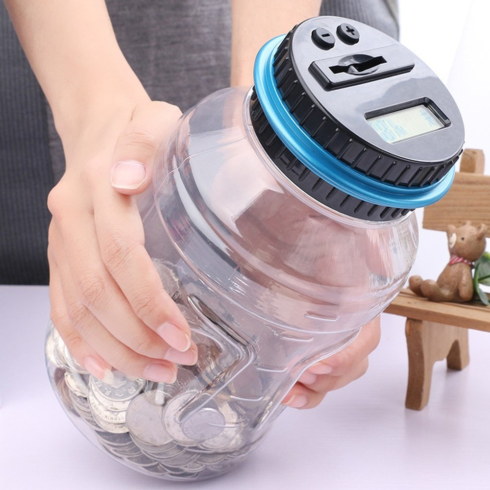 Electronic Smart Counting Piggy Bank Novelty Bucket Shape Storage Money Toys For Kids Adult Gift Color Random Banking Coin Toys