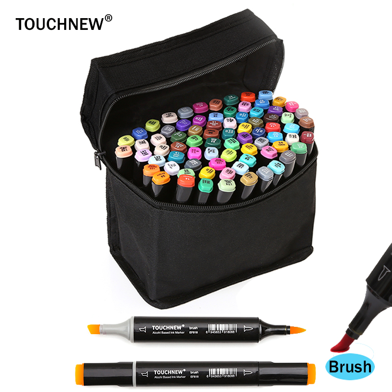TOUCHNEW Sketch Soft Brush Art Markers Set Dual Headed Oily Alcohol Based Markers For Manga Drawing Animation Design Supplies