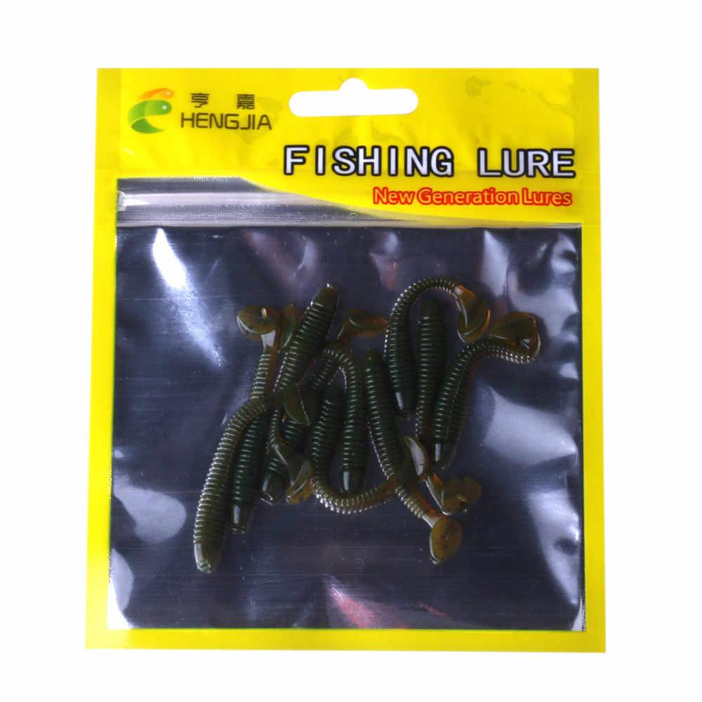 10pc 5 centimetri Esche Da pesca Worms Richiamo Morbido Bait Silicone Pesce Minnow Wobbler Per La pesca A Traina isca artificiale pesca alimentatore da pesca Verde