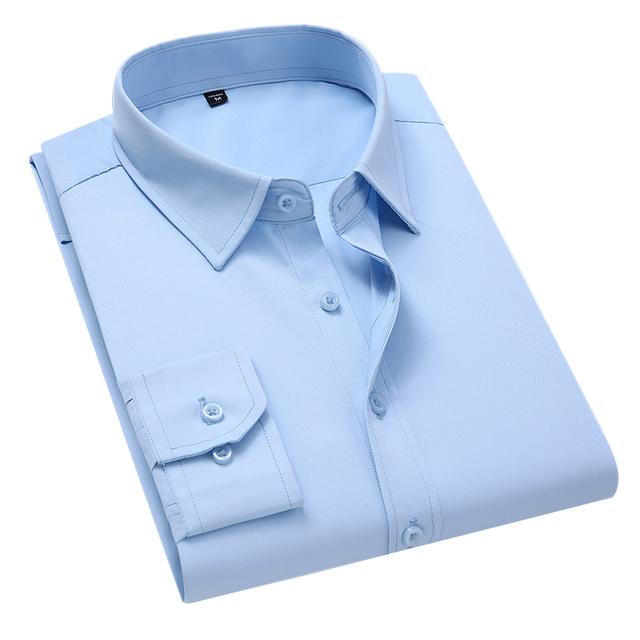 Классическая офисная мужская рубашка с длинным рукавом 2