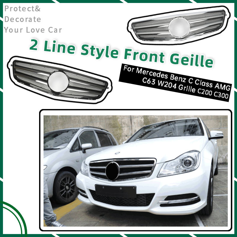 2-Line ABS Front Grille Auto Exterior Decoration for Mercedes <font><b>Benz</b></font> <font><b>W204</b></font> <font><b>Grill</b></font> Car Accessories C Class C63 AMG C180 C200 C300 image