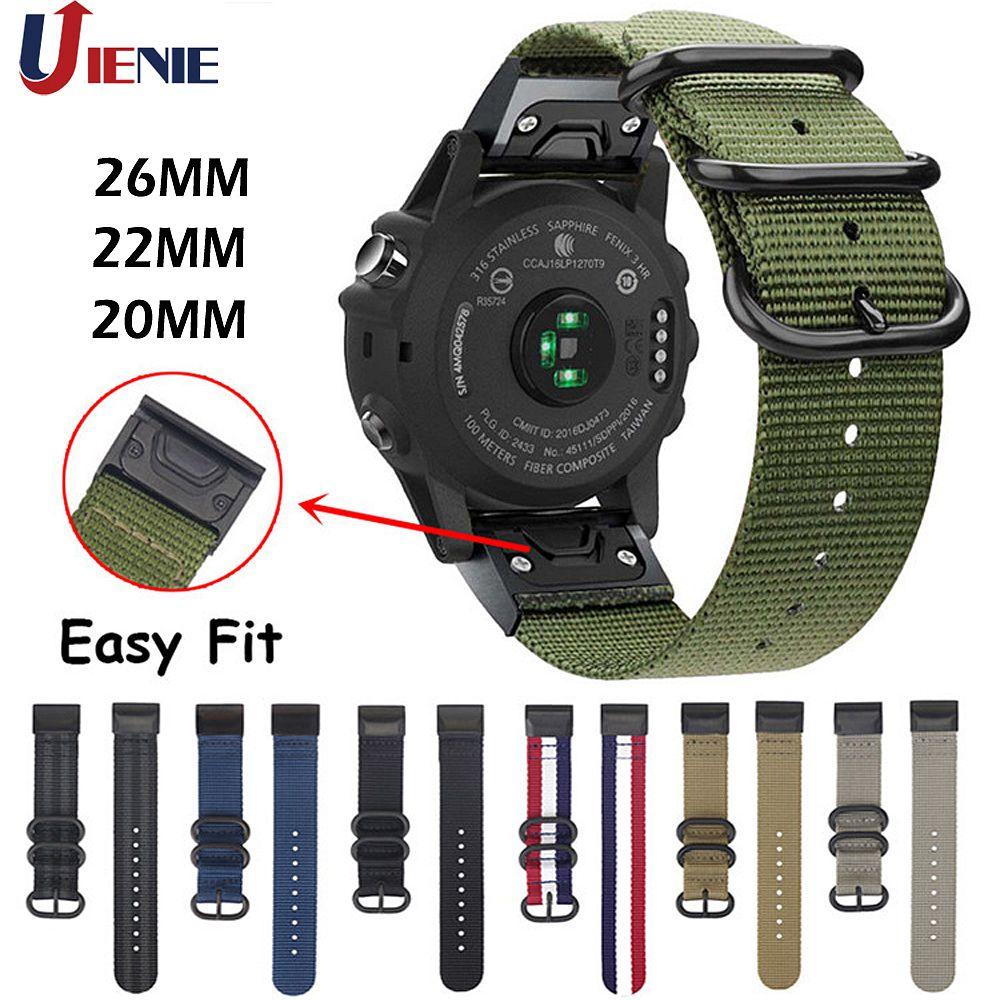 20/22/26mm Nylon Watchband Strap For Garmin Fenix 5 5X 5S Plus 6 6s 6x /3 HR/Forerunner 935 Smart Bracelet Easy Fit Band Correa
