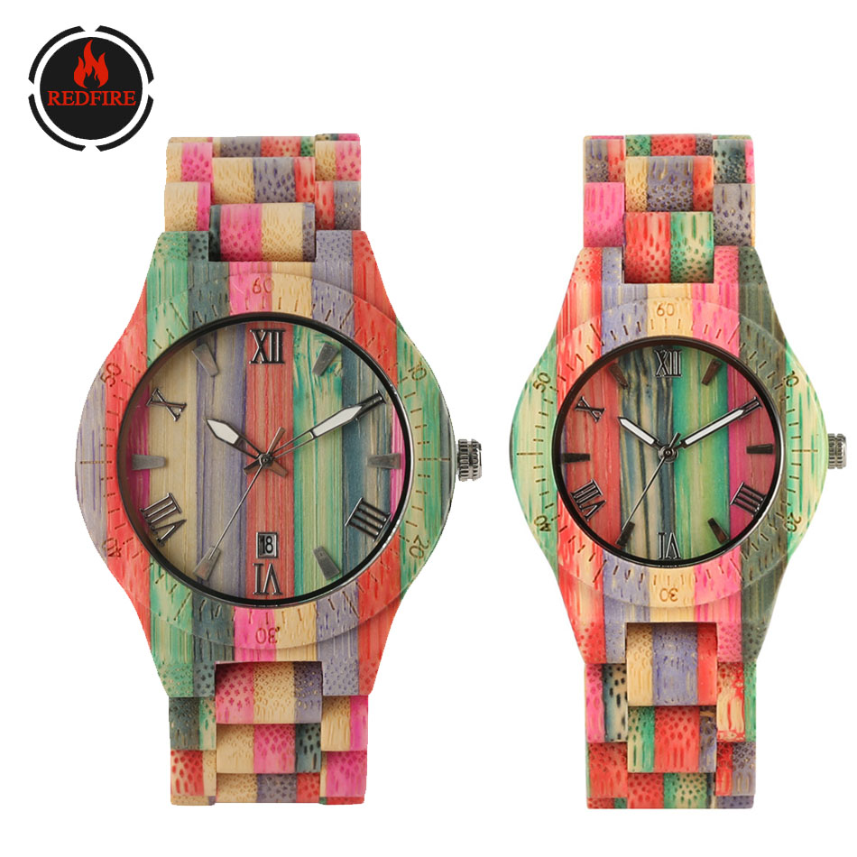 REDFIRE Fabulous Colorful Bamboo Wood Couple Watches Quartz Wooden Timepiece Folding Clasp  Lovers New Fashion Wooden Wristwatch