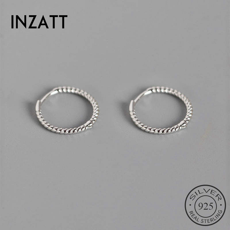 INZATT Real 925 Sterling Silve Thread Hoop Earrings For Fashion Women Party Fine Jewelry Minimalist Accessories Classic Gift